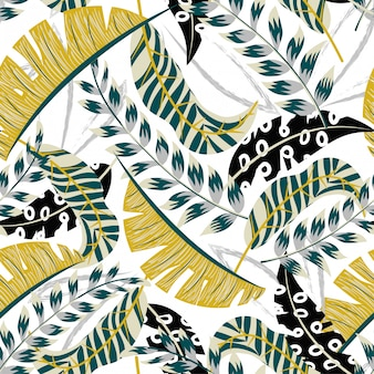 明るい葉と白い背景の上の植物で抽象的な熱帯のシームレスパターン
