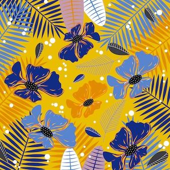 Абстрактный фон с синими цветами и листьями