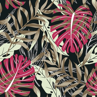 明るい熱帯の葉と植物のシームレスな背景をトレンド