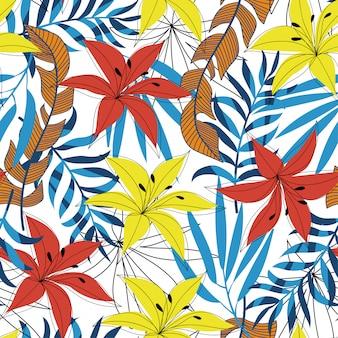 夏のトレンドの明るい熱帯の葉と花のシームレス背景