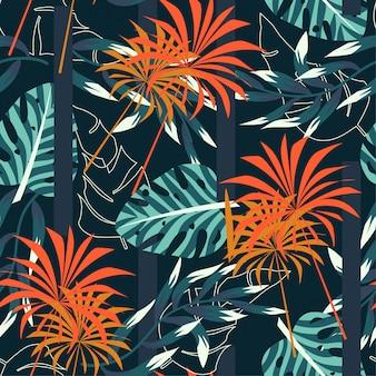 Абстрактный бесшовные тропический узор с яркими листьями и растениями