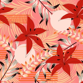 Модный абстрактный бесшовные модели с разноцветными тропическими листьями и цветами