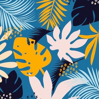 Тенденция яркий бесшовный фон с разноцветными тропическими листьями и растениями на светлом фоне