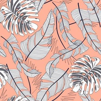 カラフルな熱帯の葉とベージュ色の背景上の植物と夏の明るいシームレスパターン