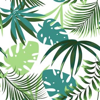 カラフルな熱帯の葉と繊細な背景の上の植物で夏の明るいシームレスパターン
