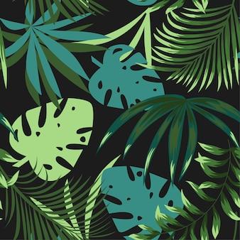 カラフルな熱帯の葉と緑色の背景で植物夏明るいシームレスパターン
