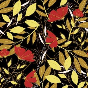 色鮮やかな葉と植物の熱帯の明るいシームレスパターン