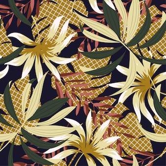 カラフルな熱帯の葉と花の抽象的な明るいシームレスパターン