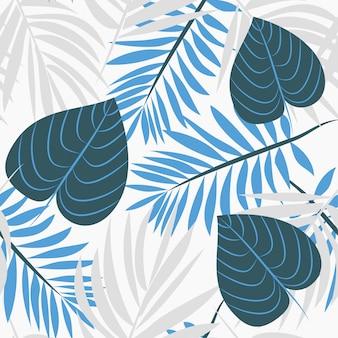 緑と青の色調でヤシの葉の背景