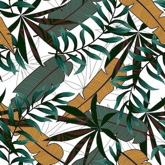 カラフルな熱帯の葉と白の植物の明るいトレンドのシームレスパターン