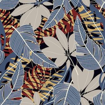 カラフルな熱帯の葉と黒の背景上の植物で元の抽象的なシームレスパターン