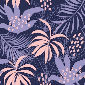 カラフルな熱帯の葉と暗い背景に植物の抽象的なシームレスパターンをトレンド