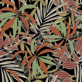 カラフルな熱帯の葉と黒の背景上の植物で抽象的なシームレスパターン