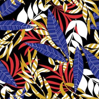 カラフルな熱帯の葉と黒の植物で夏の抽象的なシームレスパターン
