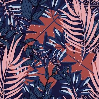 Летний абстрактный бесшовные модели с разноцветными тропическими листьями и растениями на синем фоне
