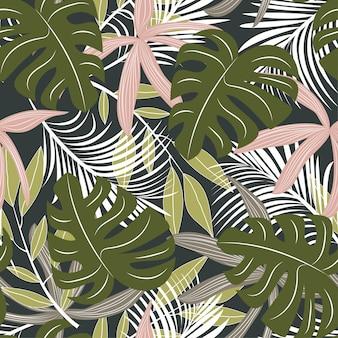 カラフルな熱帯の葉と暗い背景の植物と抽象的なシームレスパターン