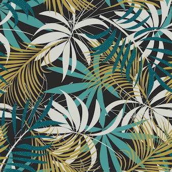 Оригинальный абстрактный бесшовные модели с разноцветными тропическими листьями и растениями на коричневом