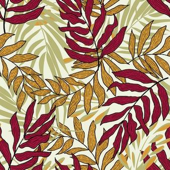 カラフルな熱帯の葉と植物のトレンド抽象的なシームレスパターン