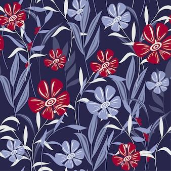カラフルな熱帯の葉と紫の花で抽象的なシームレスパターン