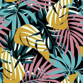 明るい熱帯の葉と植物の夏トレンドシームレスパターン