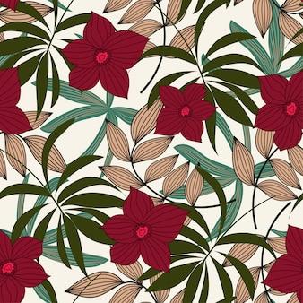 シームレスパターン熱帯の葉