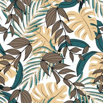 ファッショナブルなスタイルの植物のシームレスパターン。トロピカルなデザイン。
