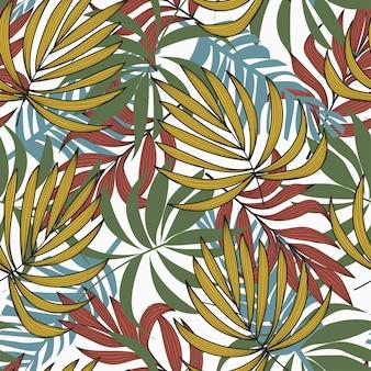 ファッショナブルなスタイルのカラフルな植物のシームレスパターン。