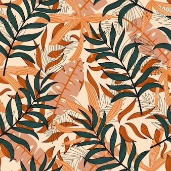 カラフルな植物とトロピカルスタイルのシームレスパターン。エキゾチックな壁紙、ヤシの葉