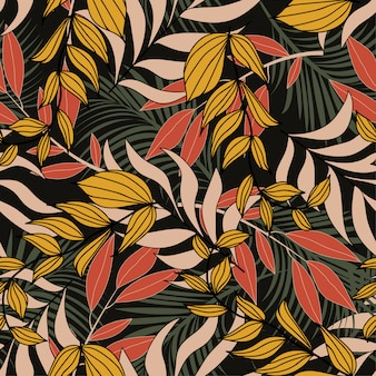 Летний гавайский бесшовные модели с тропическими растениями