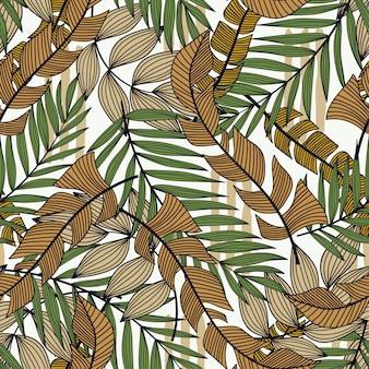 熱帯植物とトレンドのシームレスパターン