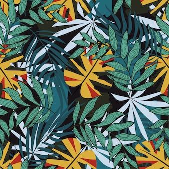 熱帯の花と夏のシームレスパターン