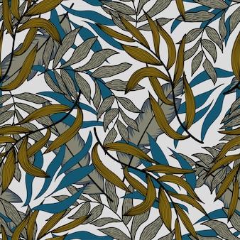 青い熱帯植物と葉を持つ夏のシームレスなパターン。シームレスなベクターテクスチャ