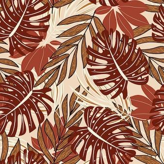 美しい熱帯植物と葉を持つ夏のシームレスパターン