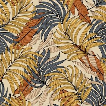 熱帯の葉と植物のシームレスなパターン。シームレスなベクターテクスチャ