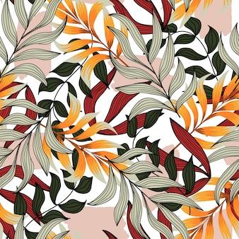 熱帯植物とモダンなシームレスパターン。