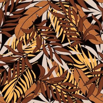 熱帯植物と抽象的なシームレスパターン