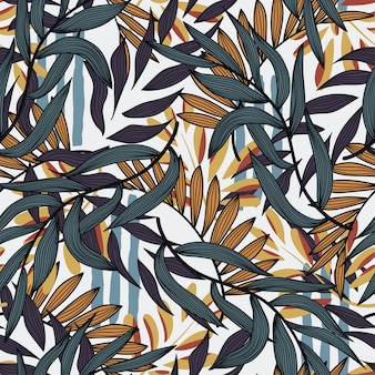 熱帯の花の植物と抽象的なシームレスパターン