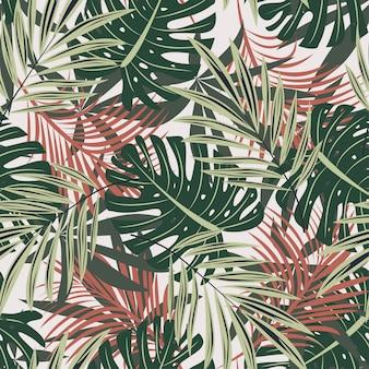 ハワイの花の植物との元のシームレスパターン