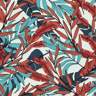 熱帯の花の植物と植物のシームレスパターン