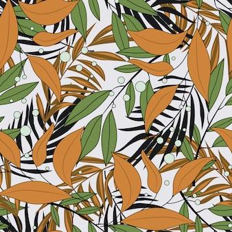 ハワイの花の植物と熱帯のシームレスパターン