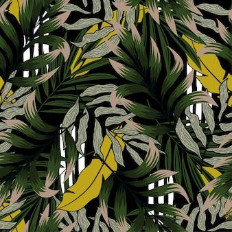 豊かな熱帯の葉のトレンドパターン。
