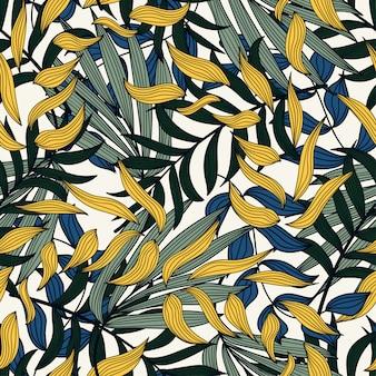 熱帯植物とカラフルなパターン。