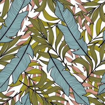 熱帯の葉と植物の夏のパターン。