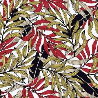 カラフルな植物と熱帯のシームレスなパターン。