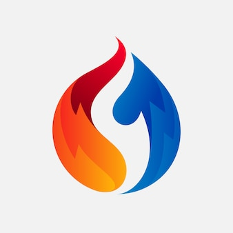 冷凍会社のためのホットとコールドのロゴデザイン