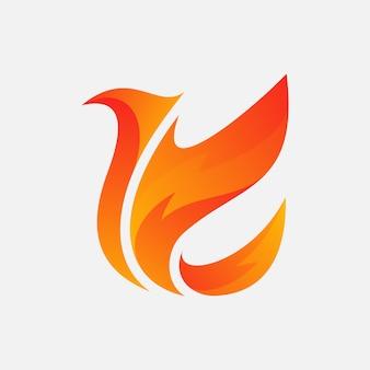 火のロゴのデザインを持つ鳥