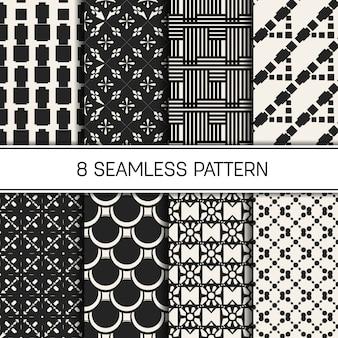 白黒の幾何学模様の背景のセット。