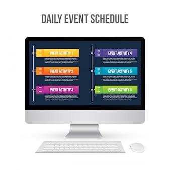 毎日のイベントスケジュールは空欄、タイムラインはデイプラン。
