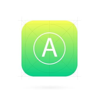 ガイドライン、グリッドを持つアプリアイコンテンプレート。