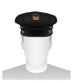 バイザーとレトロな古典的なタクシー運転手の帽子。